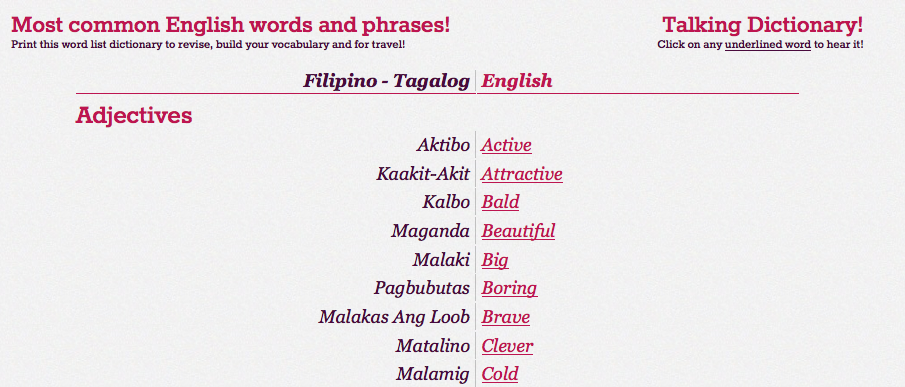 Tagalog to English dictionary