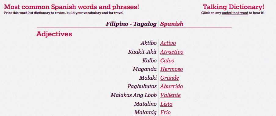 Tagalog to Spanish dictionary