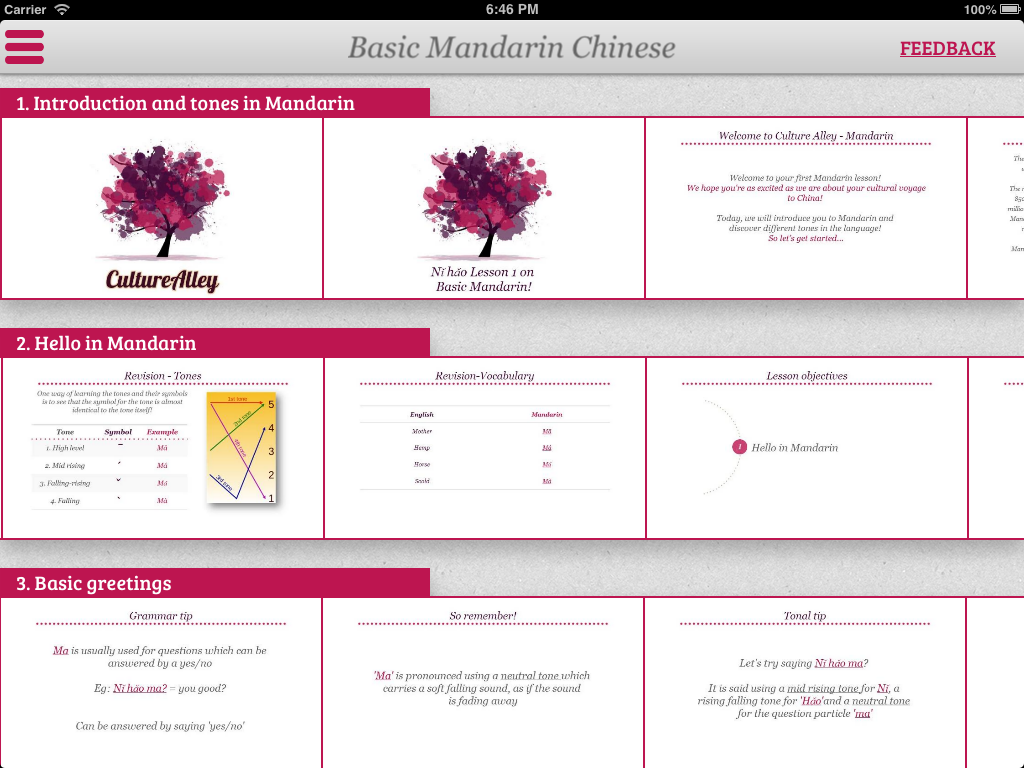 Audio visual Chinese lessons iPad